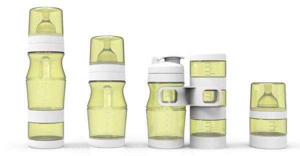 pack entier de 3 biberons de différentes tailles, une gourde, des réserves empilables de la marque Natidiv Français de couleur jaune