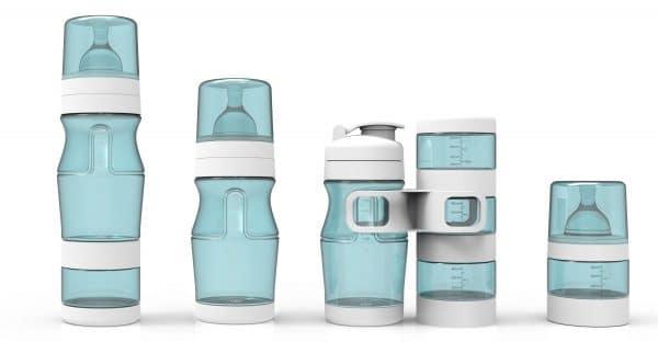 pack entier de 3 biberons de différentes tailles, une gourde, des réserves empilables de la marque Natidiv Français de couleur bleu