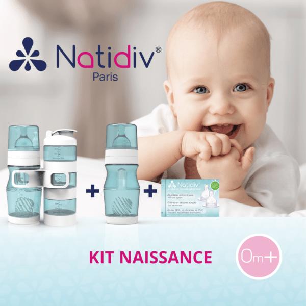 kit de naissance pour bébé avec 2 biberons bleu et 3 réserves empilables et 2 tétines de rechanges débit S